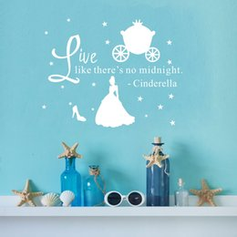 Wholesale Quote Vinyl Wall Art Decals Live Like There s No Midnight DIY Stars Princess Wall Stickers for Girls Bedroom