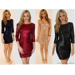 Wholesale 100 Brand New Sexy Deep V neck Low cut Sequined Bandage Short Dress Slim Fit Party Bar Dress for Women Ladies Free DHL