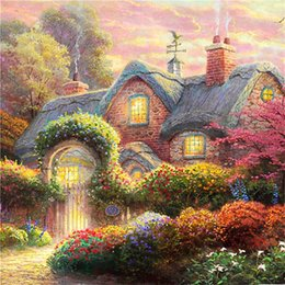 Wholesale New Decor Picture Diamond Painting Cross Stitch Painting Landscape Thomas Kinkade Wall Pictures with Embroidery Kits for Bedroom