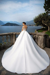 Beach Wedding Gowns 2017 Milla Nova Sheer Long Sleeve Wedding Dresses Jewel Neck Buttons Back Lace Appliques Satin Ball Gown Bridal Gowns 42