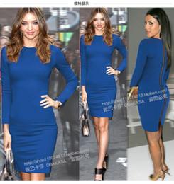 Promotion kim kardashian bleu robe de célébrité 2016 robe de printemps et d'automne célébrité Kim Kardashian même Robe crayon Robe de couleur unie bleu et rouge à manches longues longueur genou
