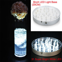 DHL Free Shipping !!! 40pcs Lot Super Bright LED White Light 8inch 31pcs White LED Under Vase Centerpiece Light Base 3AA Battery Operated