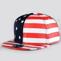 Wholesale-New Adjustable USA flag Summer Style Flag Printed Hats Cap Baseball Golf Hip Hop Fashion For Men Women Red
