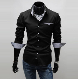 Casual Shirt Men 2018 Fashion Patchwork Plaid design turn down collar long sleeve single breasted 2017 mens business shirts free shipping