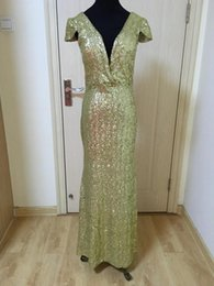 Gold Champagne Sequined Evening Dress With V Neck 2018 Capped Long Bridesmaid Dress Real Photo