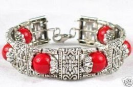 LOVELY JEWELRY TIBET SILVER RED CORAL ROUND 6 BEADS BRACELET