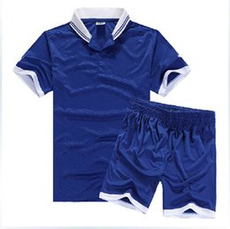 Wholesale plate football suit collar football training service group team football soccer jerseys short sleeve men soccer set Customized name number