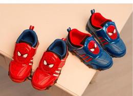 Los zapatos de los cabritos 2016 del resbalón del resbalón de los cabritos calzan los zapatos de las muchachas de la marca de fábrica de los niños de las zapatillas de deporte de la manera Los cabritos llevados de los cabritos de los zapatos del deporte de los cabritos desde zapatos de hombre araña para niños proveedores