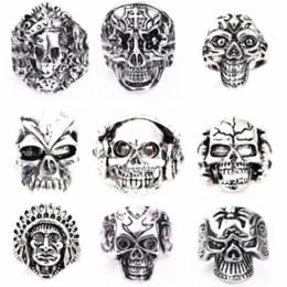 wholesale 50PCs silver skull skeleton mixed styles men's punk rock metal alloy jewelry rings brand new