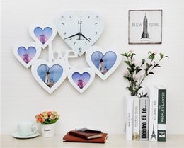 Wholesale Love Wall Watches - LOVE heart-shaped photo frame wall clock mute creative watches the clock hanging table minimalist modern living room bedroom marriage room d