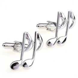 Free shipping Music Note CuffLinks for Shirts Cuff links Glossy Silver Paint Color Metal Pattern High Quality Cuff-links 930028
