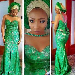 Wholesale 2017 robe de mariée arabe Long Evening Dresses Green Sheer Neck ace Applique Formal Mermaid Prom Dresses Red Carpet Celebrity Prom Dress