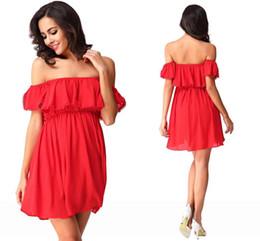 Wholesale Cheap Women Dress Blouses - 2016 New Arrival Bohemian Style Summer Blouses Shirts Elegant Off Shoulder Red Mini Short Women Casual Cheap Dresses FS181