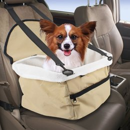 Wholesale Pet Booster Seat Dog Cat Car Carrier Bag with Soft Sheepskin Lining Safety Carrier Basket Bed for Travelling Outdoor Use