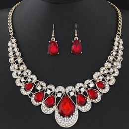 Wholesale Lady Multi Crystal Necklace - Cubic Zirconia Indian Jewelry Sets For Women Multi Colored Big Crystal Necklace And Earrings Ladies DHW263