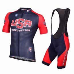 Wholesale 2016 USA National TEAM Short Sleeve Cycling Jersey Bike Bicycle Wear BIB Shorts Size XS XL