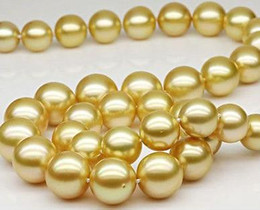 South Sea 9-10mm Round Gold Pearl Necklace 38inch Beaded Necklaces 14k Gold Clasp