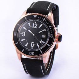 Bliger 43mm Rose Gold Case Black Dial Black Leather Strap Automatic Mechanical Men's Luxury Watch High Quality 1766