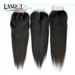 Wholesale Brazilian Straight Virgin Human Hair Lace Closures Free Middle Part Peruvian Malaysian Indian Cambodian Mongolian Hair Top Closure x4Inch