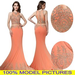 Wholesale Real Photos Two Pieces Orange Prom Evening Dresses Mermaid Illusion Bodice Jewel Gold Appliques Long Formal Party Celebrity Gowns Cheap