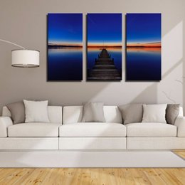 Wholesale LK3206 Panels Blue Skye Ocean Wood Bridge Sunset Oil Painting For Modern Home Sitting Room Bar Hotel Decoration Print on Canvas Giclee Ar