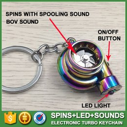Wholesale 13 colors LED Electric Torch Spinning Turbo Keychain Fans Favorite Sleeve Bearing Turbine Turbocharger Keyring Key Chain Ring Keyfob