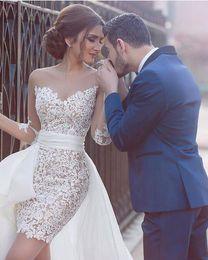 2016 Short wedding dress elegant white sheath lace illusion long sleeves bridal wedding dress detachable train wedding guest dresses