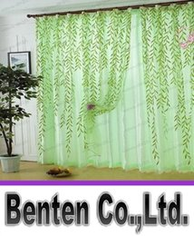 Wholesale Green Scenic window curtain modern rustic balcony window screening curtain tulle home decoration fabric decorative curtain leaf LLFA