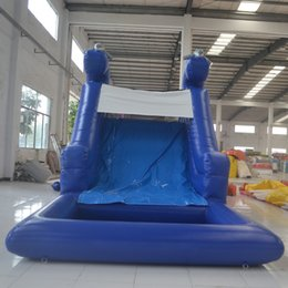 Wholesale AOQI water park equipment classic design inflatable slide for adult and kid indoor equipment mini water slide with climbing wall