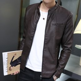 Wholesale Male leather clothing slim stand collar motorcycle thin for air force pilot leather jacket outerwear for lg do buy it