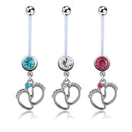 Wholesale 3pcs Flexible CZ Pregnant Maternity Navel Belly Ring Piercing Body Jewelry Baby Feet Belly Button Rings For pregnancy Women