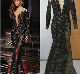 Wholesale Silver Mermaid Ball Evening Gown - 2016 Celebrity Evening Dresses Black Applique with Gold Thread Scoop 3 4 Long Sleeve Mermaid Sweep Train Prom Dresses Real Pictures Dresses
