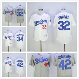 Wholesale 2016 Flexbase MLB Los Angeles Dodgers Sandy Koufax Fernando Valenzuela Jackie Robinson Jersey Grey White Home Away All Stitched Authentic Qu
