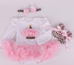 New Baby Girl Clothing Sets Infant Easter Lace Tutu Romper Dress Jumpersuit+Headband+Shoes 3pcs Set Bebe First Birthday Costumes