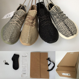 Wholesale 2016 NEW Best quality boost Kanye West Sneakers Moonrock Oxford Tan Pirate Black turtle dove Keychain Socks Bag Receipt Box