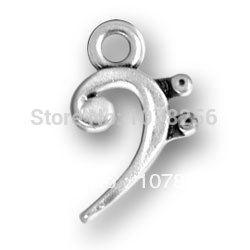 Wholesale 100pcs zinc alloy antique silver plated high quality musical bass clef charms