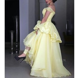 2016 Light Yellow Hi Lo Evening Dresses Elegant Beads Applique A Line Evening Gowns Custom Made