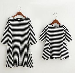 Girls INS striped Dress Long Sleeve Princess casual Dresses Mother and daughter Parent- child Family INS dress