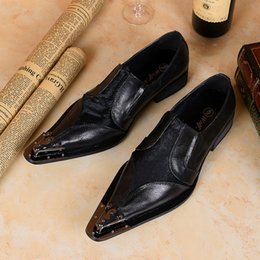Wholesale 2016 Hot Sale Black Horse Fair Genuine Leather Men Shoes Metal Pointed Toe Italian Men Oxfords Dress Shoes Slip on Zapatos Mujer