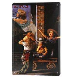 Promotion signes de cow-boy Affiche métal vintage Affiche Tin Sign The Saturday Evening Post Petite Cowboy americana M4 20161005 #