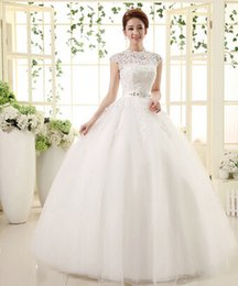 Capped Jewel Neck Lace Tulle Wedding Dress With Beaded 2016 Floor Length Backless Wedding Gowns Fast Shipping
