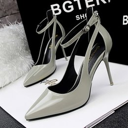 Europen New Pointed Toes Pumps Stiletto shoes Lady's Summer Strao Buckle Dress shoes #1892