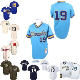 Wholesale Blue Throwback Robin Yount Authentic Jersey Men s Mitchell And Ness Milwaukee Brewers cream Turn Back The Clock