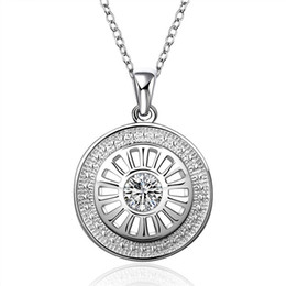 Best gift women's Button buckle shape pendant necklace white gemstone sterling silver plated necklace STSN692