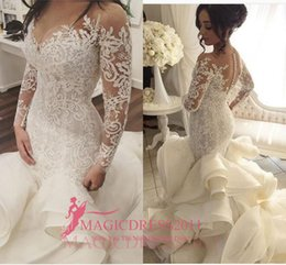 Wholesale 2016 Amazing Mermaid Wedding Dresses with Illusion Long Sleeve Jewel Tiered Skirts Ruffled Court Train Beach Garden Vintage Bridal Gowns