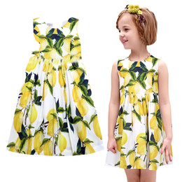 Prettybaby kids girls sleeveless Pastoral style princess party dress digital lemon printed girl cool summer sundress Pt0547#