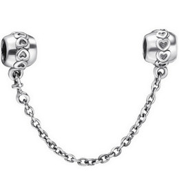 Wholesale 925 Sterling Silver Charm Hearts Safety Chain European Floating Charms Silver Beads For Pandora Snake Chain Bracelet DIY Jewelry