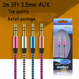 Wholesale 3FT mm Aluminium Audio AUX Car Extention Cable Braided Cable Wire Auxiliary Stereo Male to male m For I6 S Samsung S6 HTC