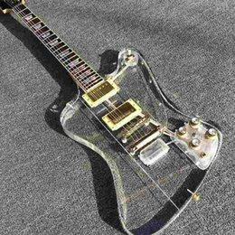 Wholesale New Custom shop Acrylic Firebird Electric guitar Fretboard Transparent Body with LED Transparent Pickguard Gold Haredware