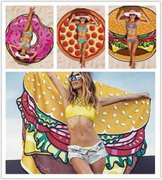 150cm Round Yoga Mat Thin Chiffon Beach Towel Picnic Blanket Pizza Hamburger Donut Beach Shower Towel Blanket Bohemian Bikini Cover